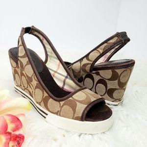 COACH // Sydney Wedge Slingback Peeptoe Shoes SZ 6